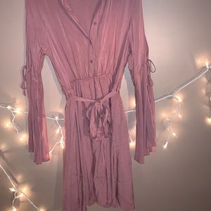 Charlotte Russe Pale Pink Midi Long-Sleeve Dress